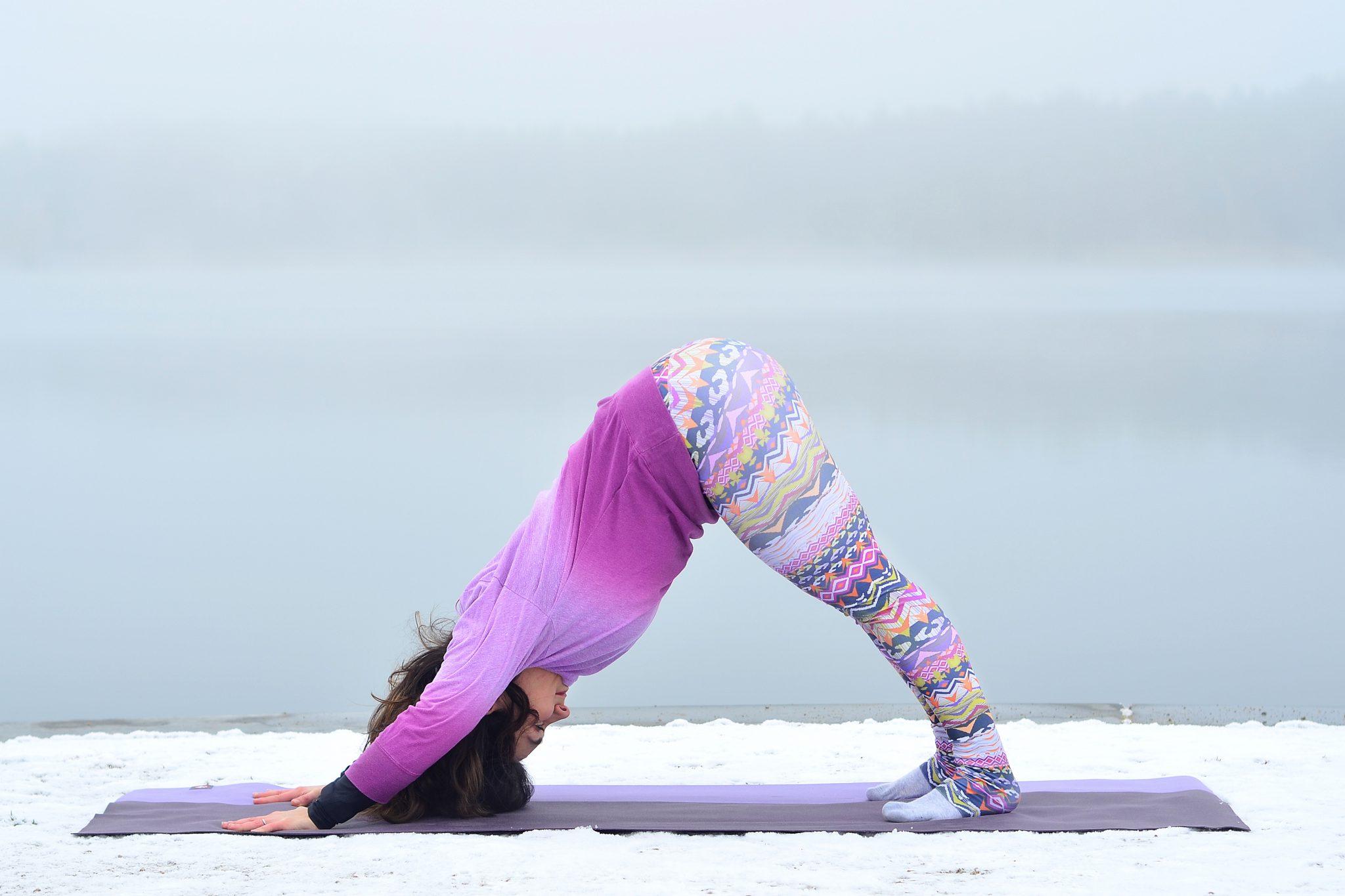 girl downward dog yoga