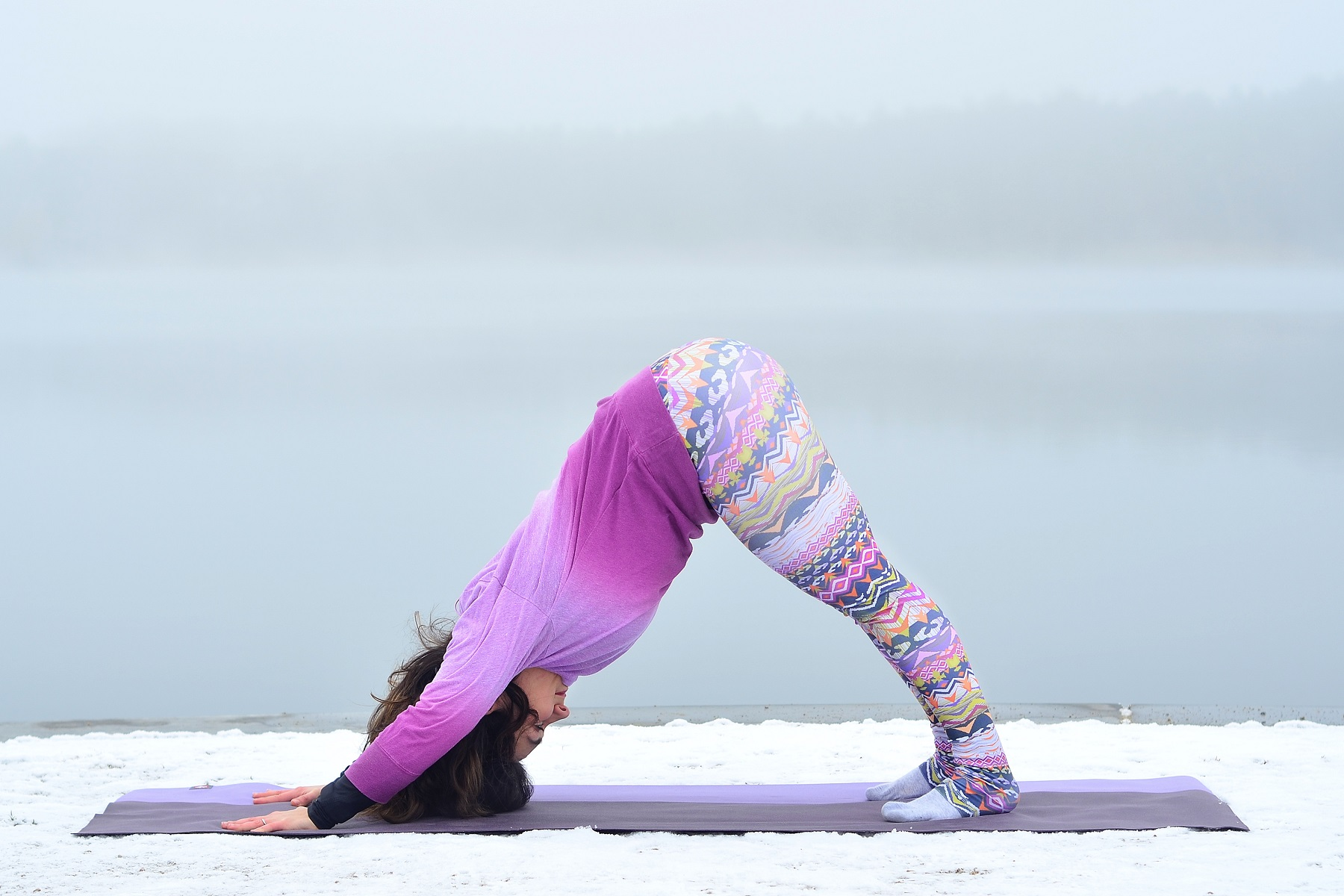 girl yoga downward pose